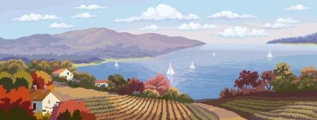 Landelijk landschap met velden en de zee panorama.