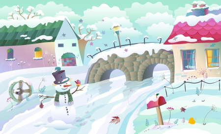 Winter rural landscape with houses, bridge and river. Illustration