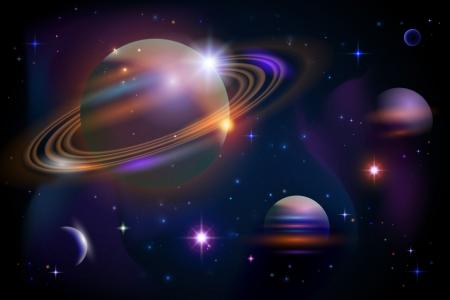 Planeten, sterren en diepe ruimte achtergrond. Vector. Stock Illustratie