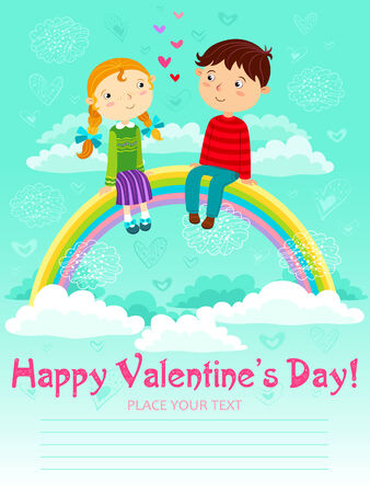 Girl and boy sitting on a rainbow in the sky. Valentines day. Vector. Vector