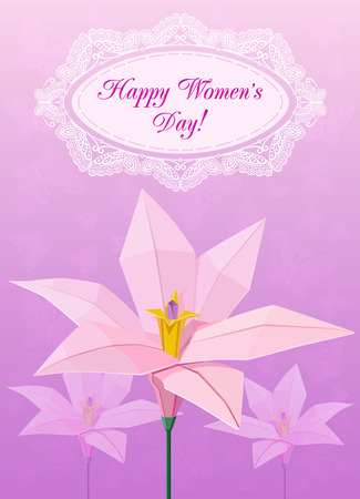 March 8 postcard with origami flowers  Vector