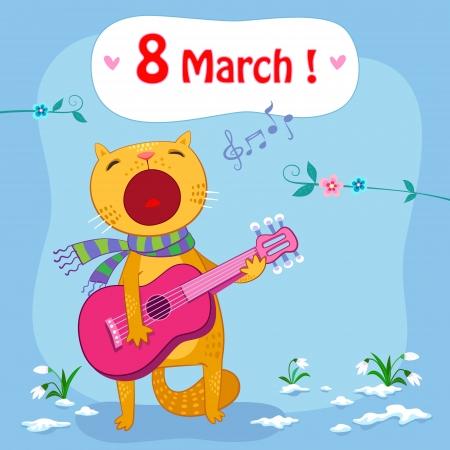 8 maart postkaart met lente achtergrond en zingen kat Stock Illustratie