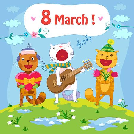 3 月 8 日はがき春背景と歌う猫