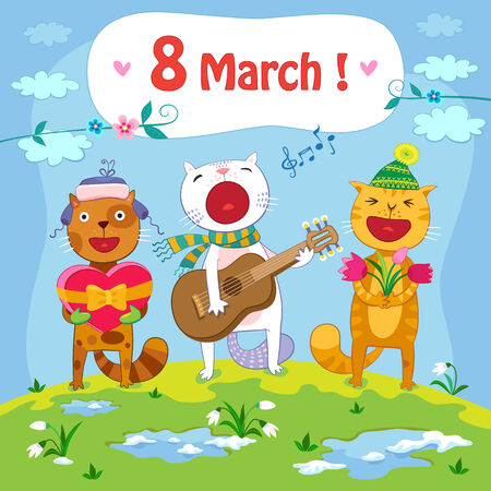 March 8 postcard with spring background and singing cats Иллюстрация