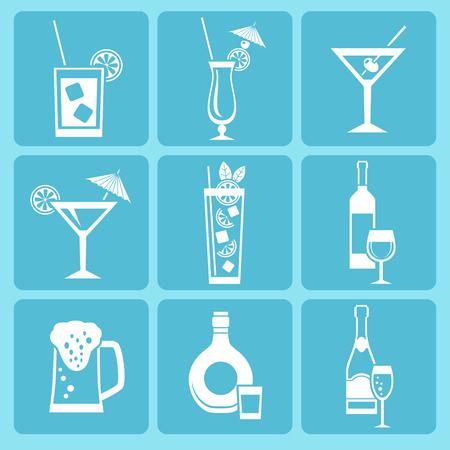 coctel margarita: Conjunto de bebidas alcoh�licas y c�cteles iconos