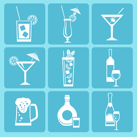 Set of alcohol drinks and cocktails icons
