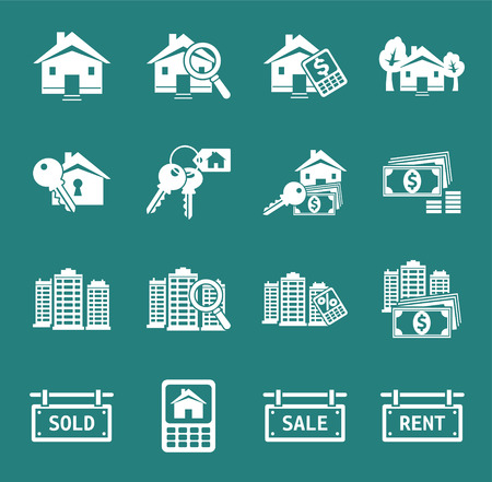 for rent: Set of real estate icons and signs Illustration