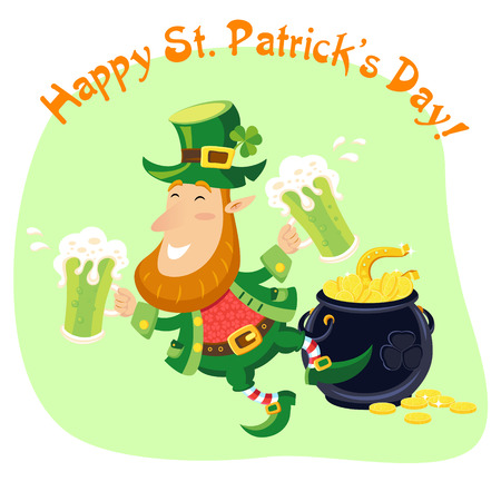 Leprechaun with beer mugs and pot of gold coins St. Patricks Day card Vector