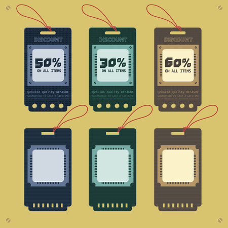 Price and sale technology style tags design Illustration