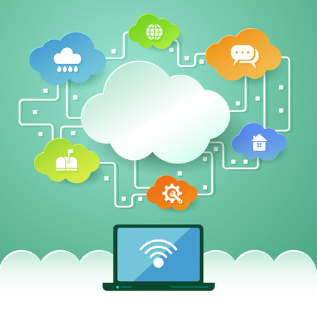 cloud network: Cloud computing concept with laptop and icons. Illustration
