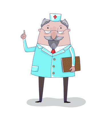 The doctor with book on white background