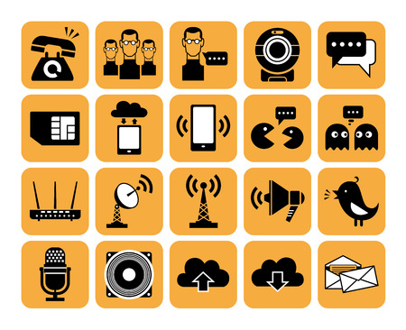 Set of vector web communication and internet icons. Vector