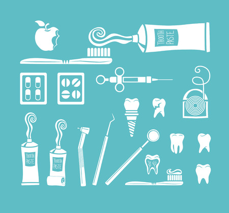 Vector set of dentist icons and teeth care Vector