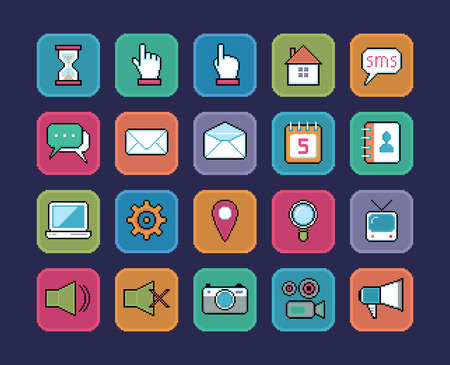 televison: Set of vector pixel art icons, web and multimedia.