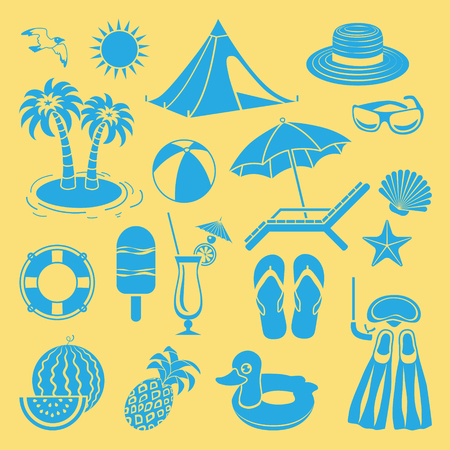 panama: Set of flat icons for summer time, vacation and tourism.