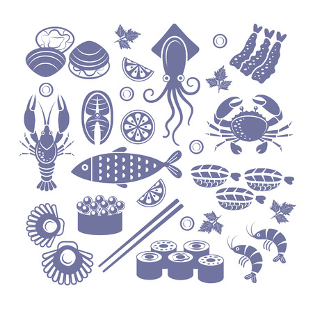 Set of flat vector icons seafoods and sushi.