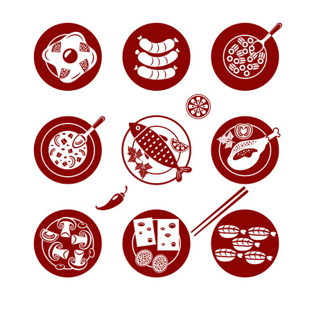 Set of flat vector icons about lunch. Illustration