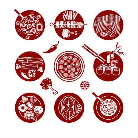 schmalz: Set von Vektor-Icons �ber Flach Mittagessen.