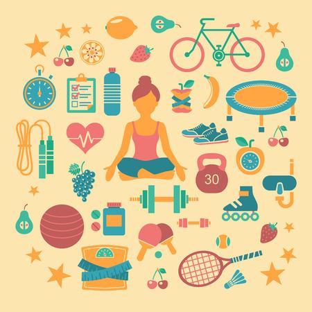 Set van platte vector iconen over fitness, sport en yoga.