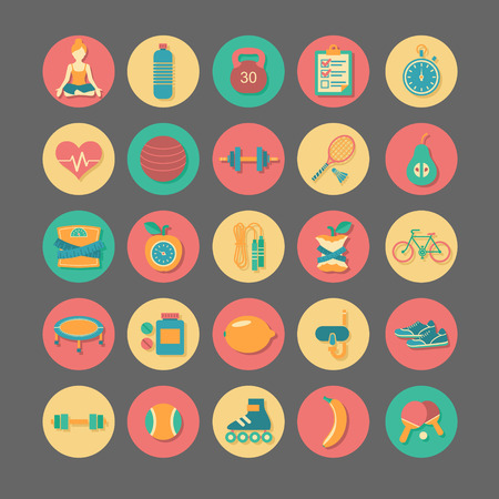 exercise equipment: Set of flat vector icons about fitness, sport and yoga. Illustration