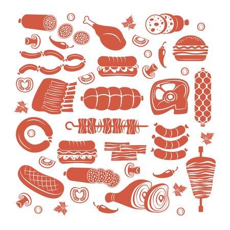Conjunto de productos cárnicos y embutidos iconos vectoriales plana