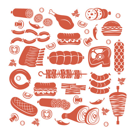 roast lamb: Set of flat vector meat and sausage icons Illustration
