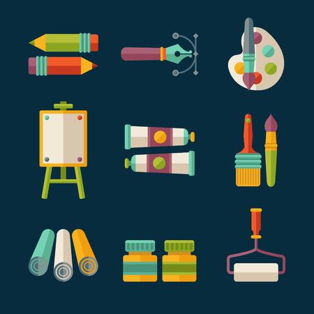 平らなベクトル アーティストとデザイナーのアイコンのセット  イラスト・ベクター素材