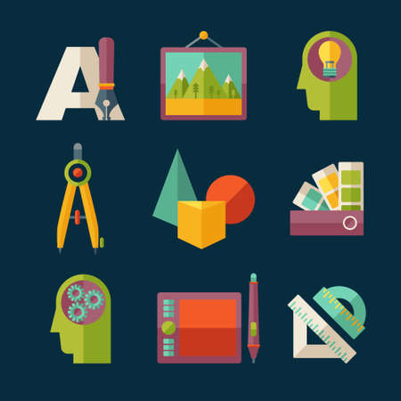 creative tools: Set of flat vector artist and designer icons