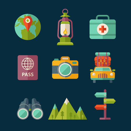 Set of flat vector travel and tourist icons. Vector