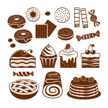 sweet stuff: Set of flat vector icons dessert and pastry. Illustration