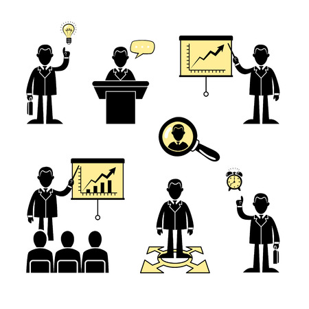 Set of flat business and corporate icons. Vector.