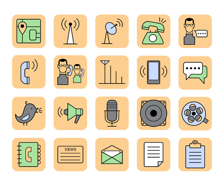 videotape: Set of vector web communication and media icons