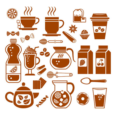 sugar spoon: Set of drinks and juices icons. Vector.