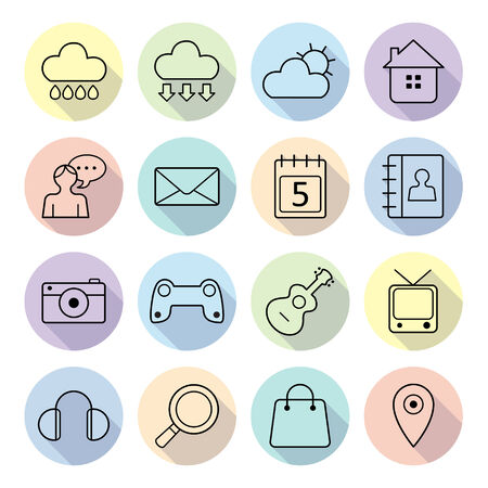 Set of flat web icons for web, services and communications