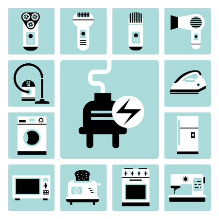 trimmers: Set of vector electric household appliances icons