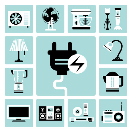 food processor: Set of vector electric household appliances icons