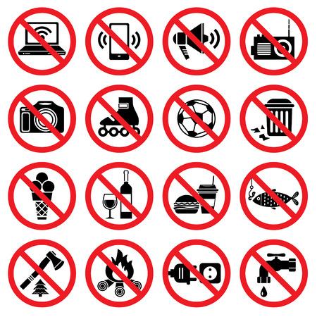 異なった指定と禁止の標識を設定します。