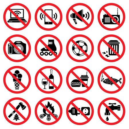 Set van verboden tekenen met verschillende aanduidingen Stock Illustratie