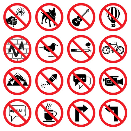 swear: Set of forbidden signs with different designations