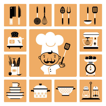 Set of vector icons of kitchen equipment, crockery and cook  Vector