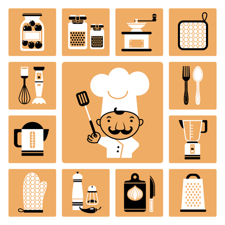Set of vector icons of kitchen equipment, crockery and cook  Illustration