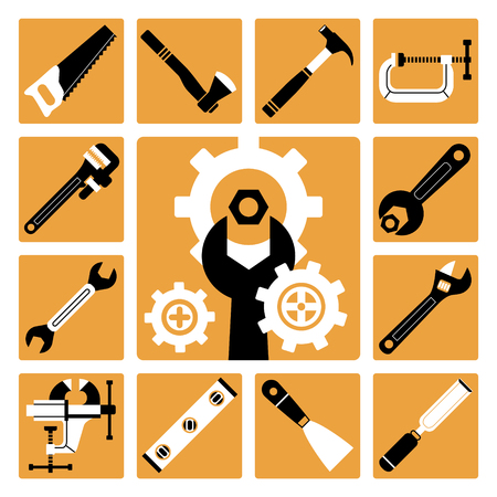 palette knife: Set of vector icons of working tools
