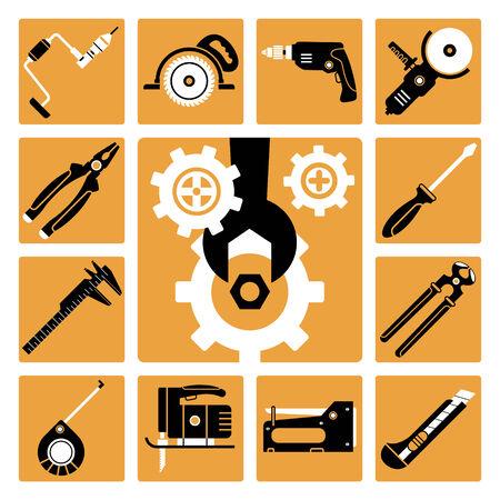 grapadora: Set de iconos vectoriales de herramientas de trabajo
