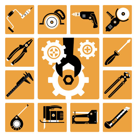 staplers: Set of vector icons of working tools