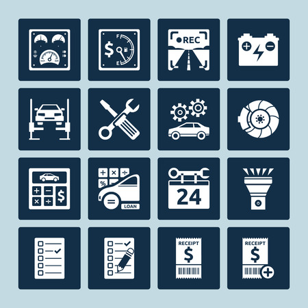 Set of vector icons of auto repair and car service maintenance Vector