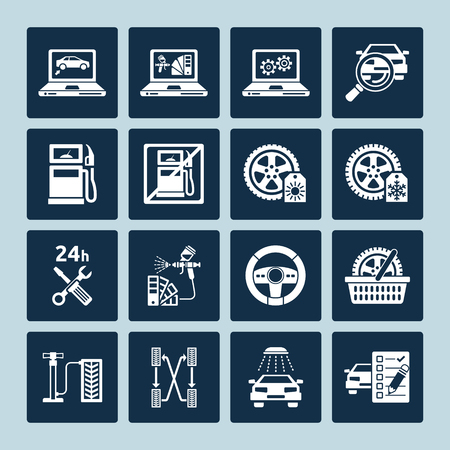 breakdown: Set of vector icons of auto repair and car service maintenance