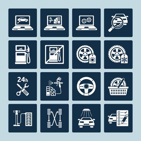 repair shop: Set of vector icons of auto repair and car service maintenance