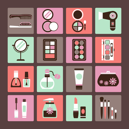 Set of vector icons of makeup and cosmetics