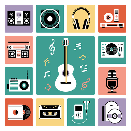 earphones: Set of vector icons of audio and musical instrument.