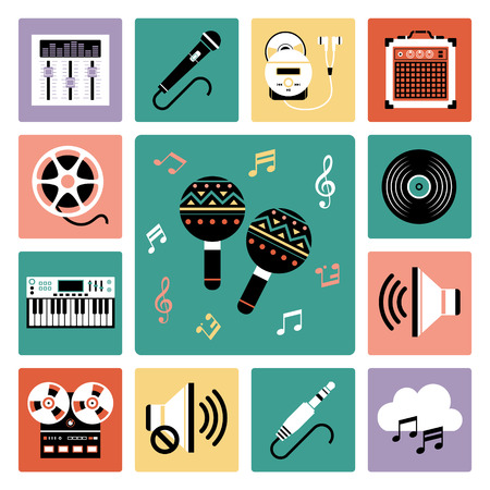 vinyl disk player: Set of vector icons of audio and musical instrument.